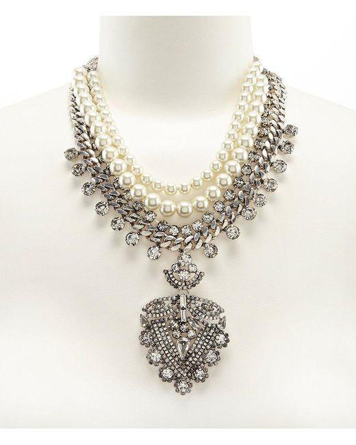 Belle By Badgley Mischka - Metallic Rhinestone & Faux-pearl Pendant Statement Necklace - Lyst