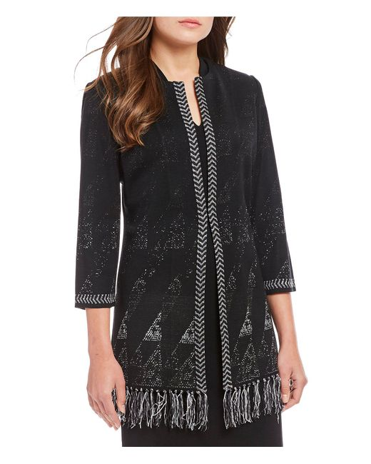 Ming Wang - Black Jewel Neck Fringe Hem Detail Jacket - Lyst