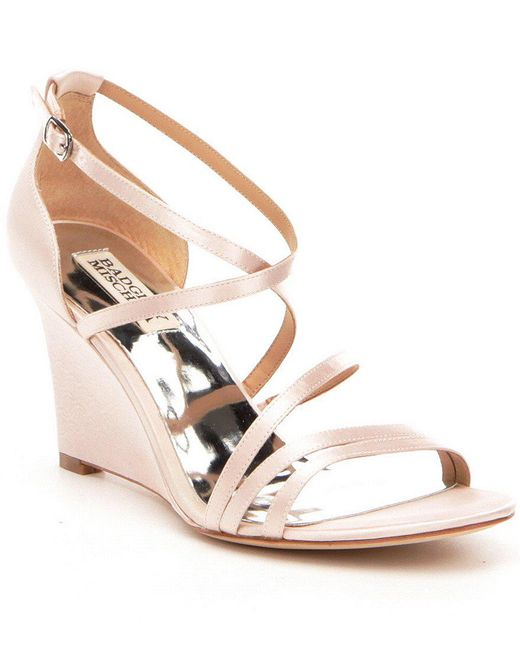 Badgley Mischka | White Bonanza Satin Criss-cross Banded Wedge Dress Sandals | Lyst