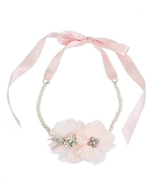 Betsey Johnson   Pink Blue By Love Birds Feather-flower & Ribbon Choker Necklace   Lyst