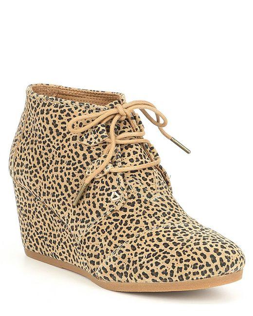 TOMS - Brown Kala Leopard Print Wedge Booties - Lyst