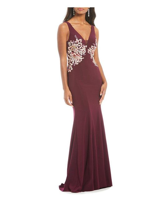 Xscape   Deep V-neck Side Embroidered Gown   Lyst