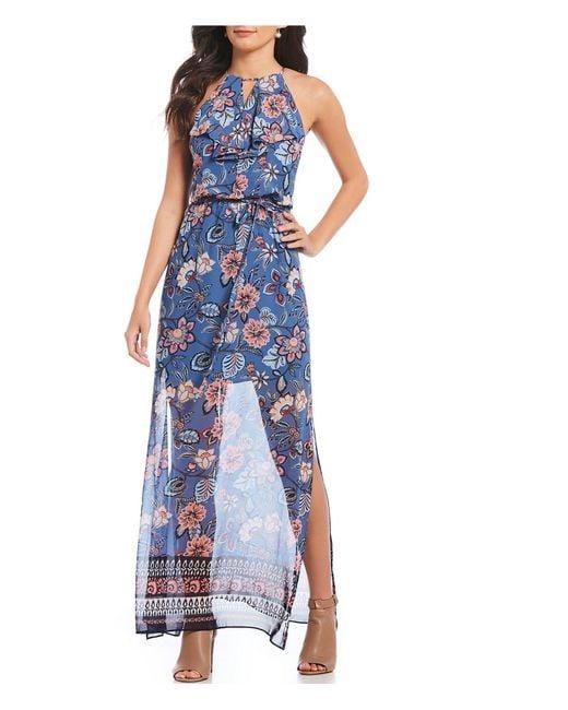 Vince Camuto - Blue Chiffon Dusty Floral Print Maxi Dress - Lyst