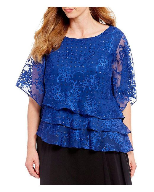 Alex Evenings - Blue Plus Size Lace Illusion Sleeve Asymmetric Tiered Blouse - Lyst
