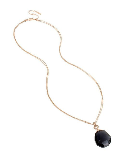 Kenneth Cole - Metallic Black Faceted Stone Pendant Necklace - Lyst