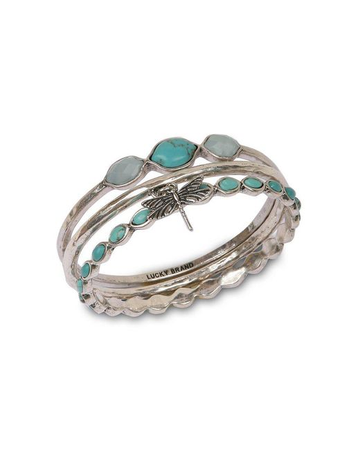Lucky Brand | Blue Silver Bangle Set | Lyst