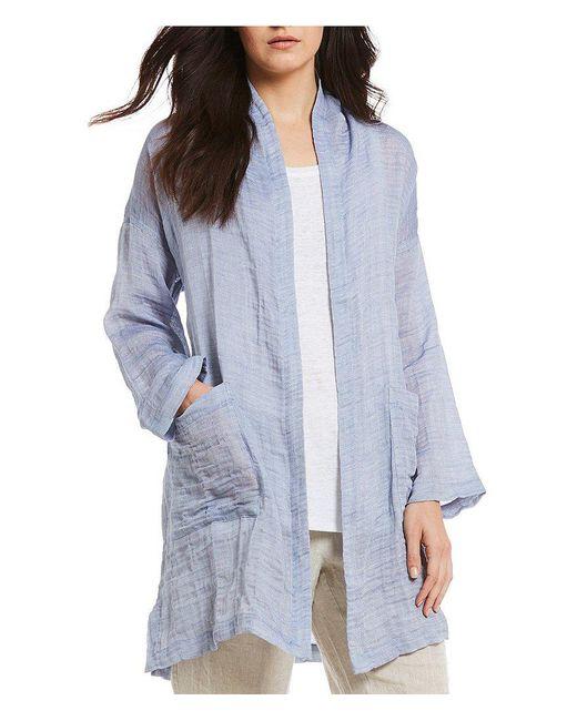 Eileen Fisher - Blue Long Sleeve Open Front Kimono Coat - Lyst
