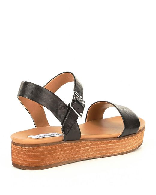 6ec69f194db6 ... Steve Madden - Brown Aida Leather Wood Flatform Sandals - Lyst ...