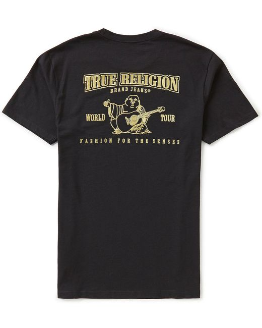 new style 076ce 326e3 True Religion - Black Metallic Gold Buddha Graphic Tee for Men - Lyst ...