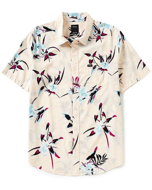 RVCA - Natural Regular Fit Moonflower Short-sleeve Shirt for Men - Lyst
