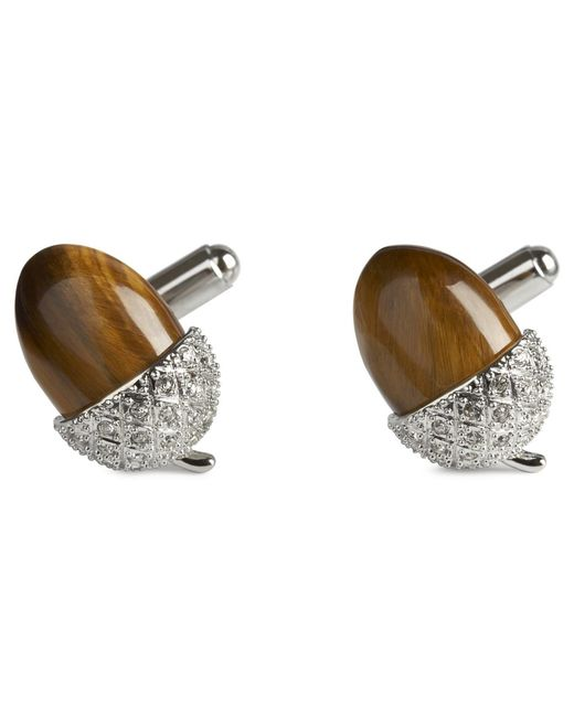 Simon Carter - Brown Acorn Tigerseye Cuff Links for Men - Lyst