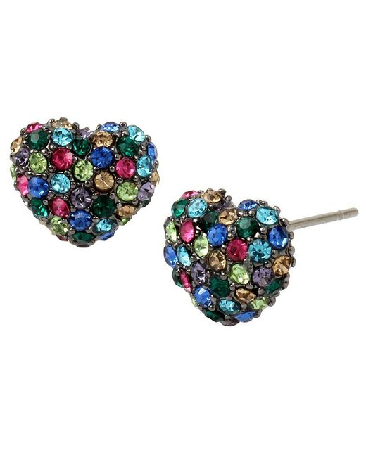 Betsey Johnson | Blue Pavé Heart Stud Earrings | Lyst