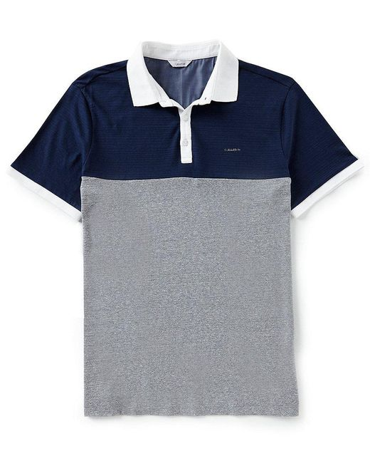 CALVIN KLEIN 205W39NYC - Blue Color Block Chest Stripe Short-sleeve Polo Shirt for Men - Lyst
