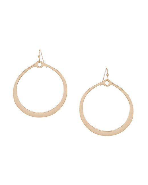 Kenneth Cole | Metallic Gold Matte Hoop Earrings | Lyst