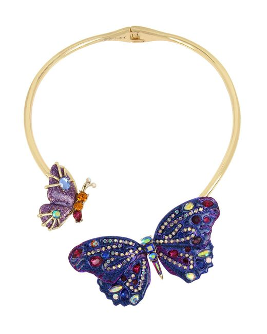 Betsey Johnson - Purple Butterfly Hinged Collar Necklace - Lyst