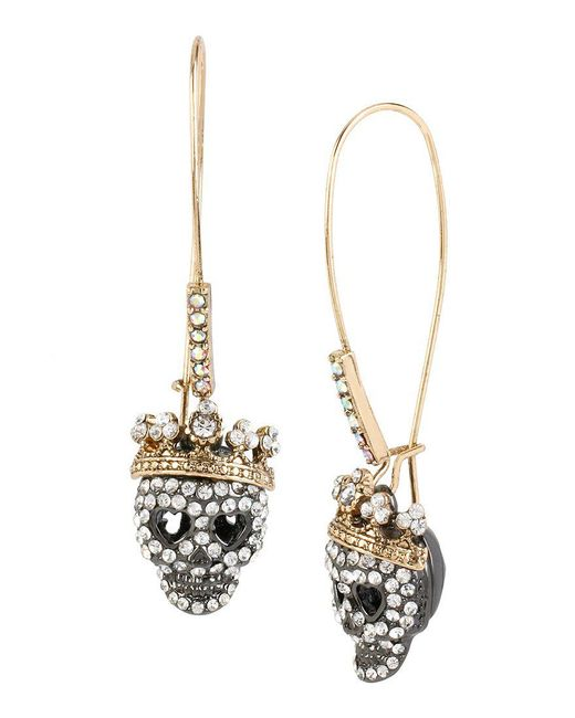 Betsey Johnson | Metallic Pavé Skull Long Drop Earrings | Lyst