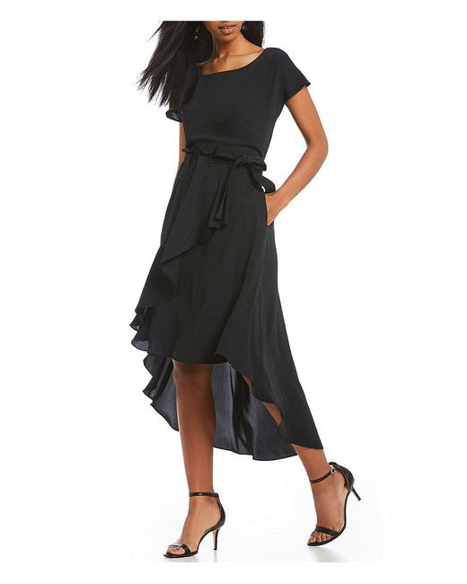 Laundry by Shelli Segal - Black High Low Faux Wrap Dress - Lyst