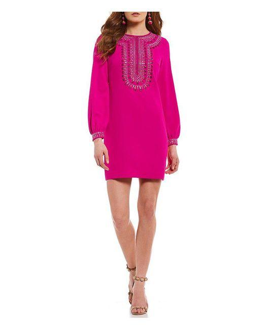 Trina Turk | Pink Kapono Beaded Shift Dress | Lyst