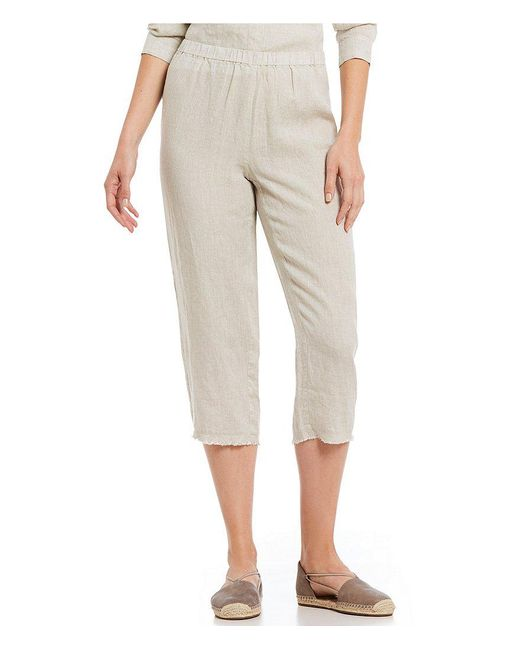 Eileen Fisher - Natural Petite Size Cropped Straight Leg Raw Edge Pants - Lyst