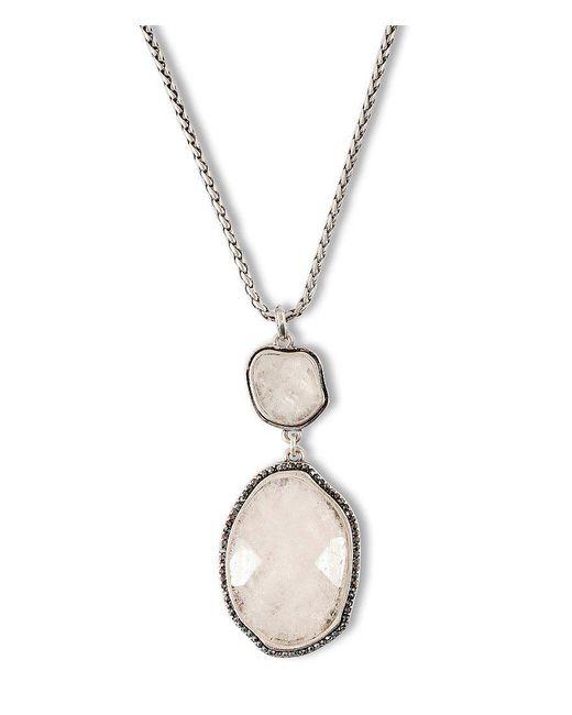 Lucky Brand | Metallic Semi-precious Rock Crystal Stone Pendant Necklace | Lyst