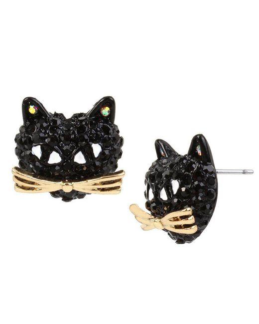 Betsey Johnson | Pavé Black Cat Stud Earrings | Lyst
