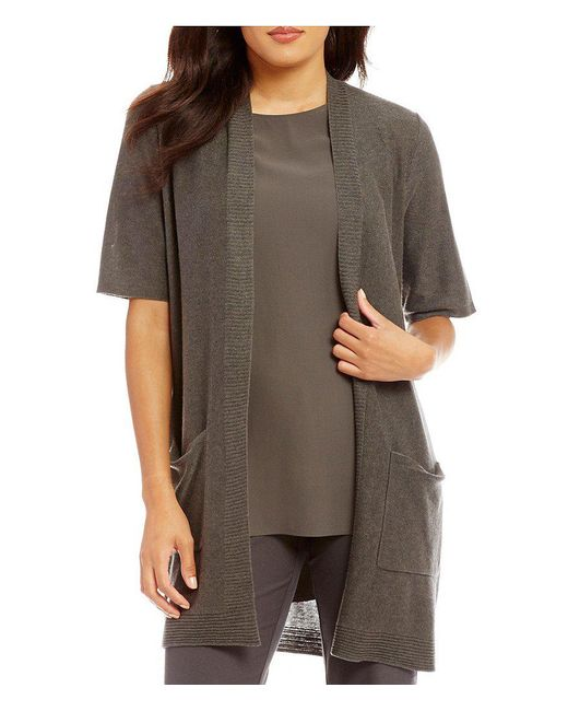 Eileen Fisher | Natural Simple Long Elbow Sleeve Cardigan | Lyst