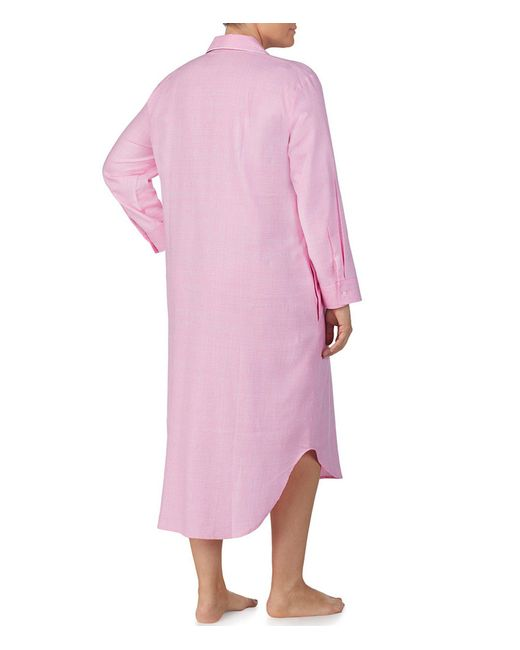 ... Lauren by Ralph Lauren - Pink Plus Plaid Print Brushed Twill Maxi Sleep  Shirt - Lyst 413a83c19