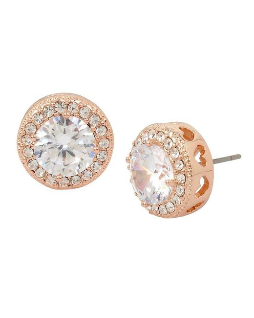 Betsey Johnson | Metallic Blue By Halo Stud Earrings | Lyst