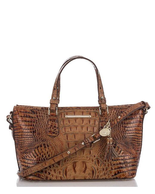 Brahmin | Brown Toasted Almond Collection Mini Asher Tasseled Crocodile-embossed Tote | Lyst