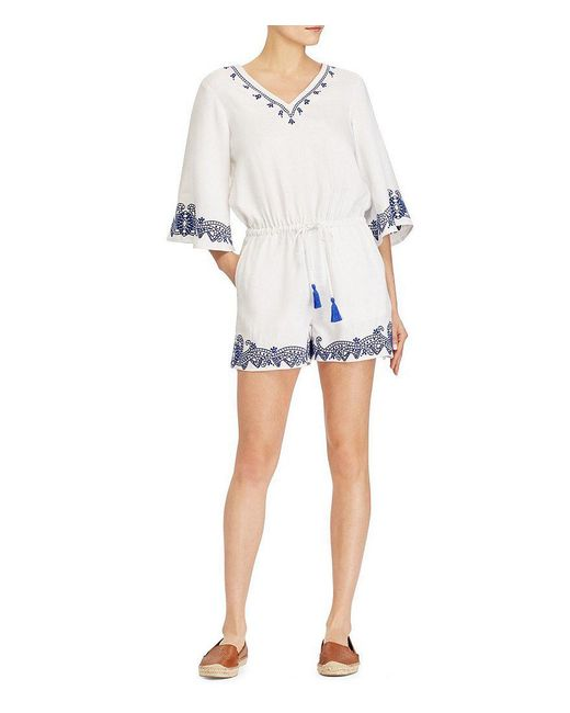 Lauren by Ralph Lauren - White Embroidered Linen-blend Romper - Lyst