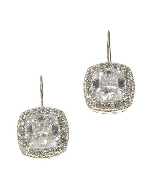 Nadri - Metallic Framed Cushion-cut Cz Drop Earrings - Lyst