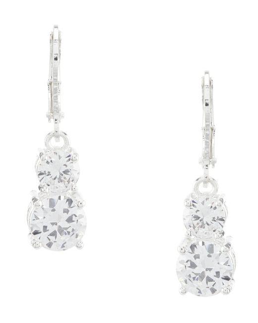 Anne Klein - Metallic Double Stone Drop Earrings - Lyst