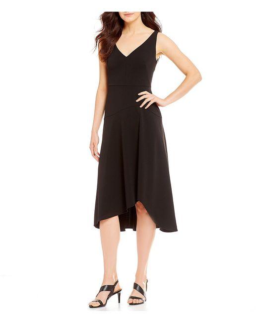 Calvin Klein - Black A-line Asymmetrical Hem Dress - Lyst