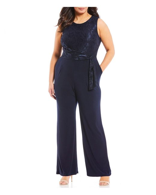 049ce662d37 Lauren by Ralph Lauren - Blue Plus Size Lace Wide Leg Jumpsuit - Lyst ...