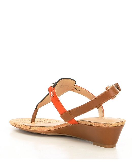 c54dd0553ad ... Antonio Melani - Brown Amirah Leather Wedge Thong Sandals - Lyst