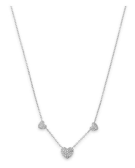 Michael Kors | Metallic Pavé Heart Pendant Station Necklace | Lyst
