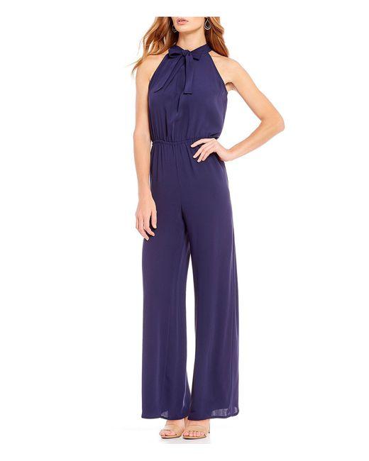 7c63b2d598a4 Cece - Blue Crepe Tie Neck Jumpsuit - Lyst ...