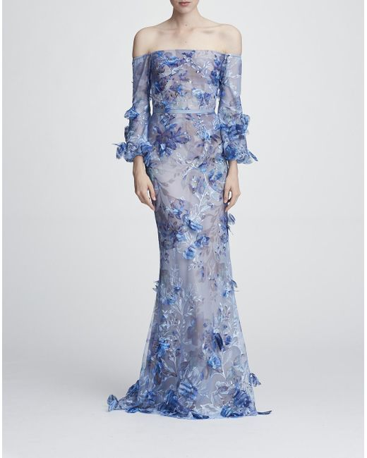 b22c5cc6263c Lyst - Marchesa notte Off The Shoulder Embroidered Gown in Blue