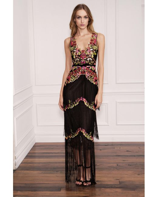 Lyst - Marchesa Notte Black Sleeveless Beaded Fringe Evening Gown in ...