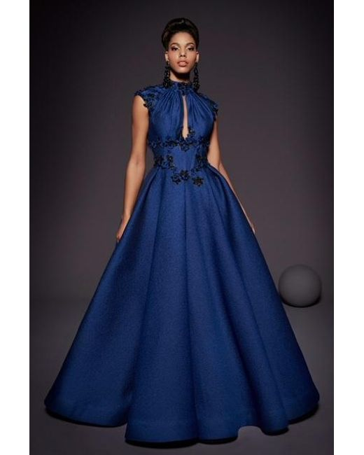 ae2e87b6954 Fouad Sarkis For Mnm Couture Cap Sleeve Ball Gown in Blue - Lyst