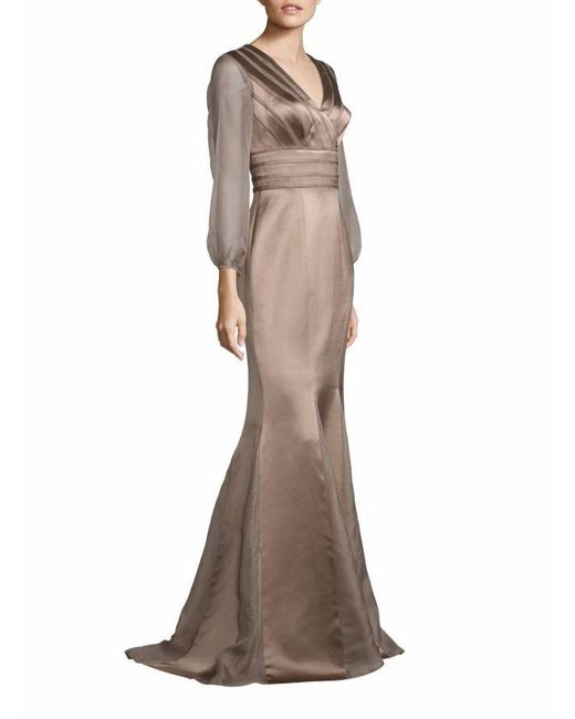 Kay Unger - Brown New York Sheer Sleeve Satin Mermaid Gown - Lyst