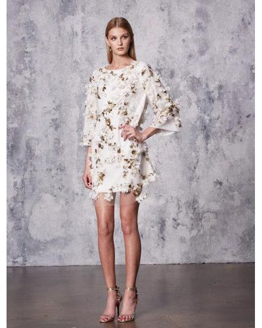 Marchesa notte - White Ivory Embellished 3d Floral Sequin Tunic Cocktail Dress - Lyst