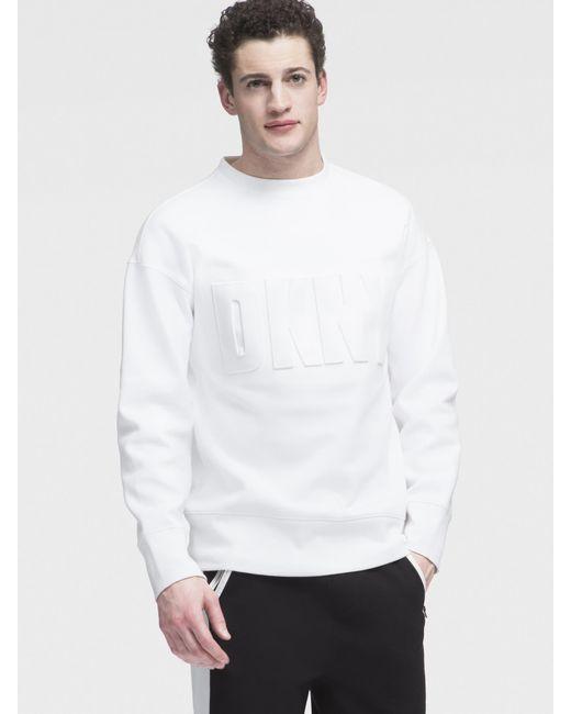 DKNY - White Embossed Logo Sweatshirt for Men - Lyst