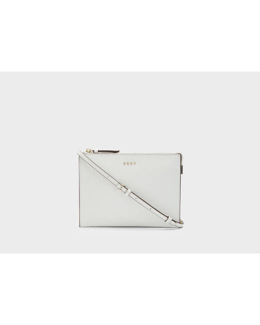 DKNY | White Saffiano Flat Chain Crossbody | Lyst
