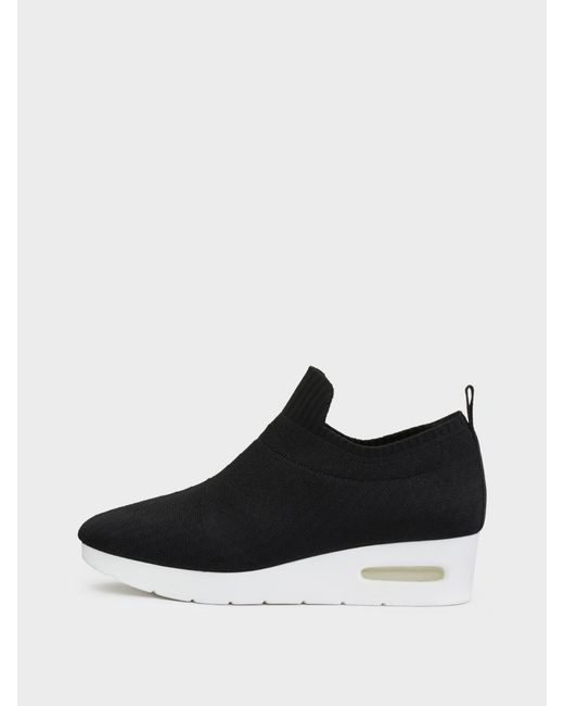 DKNY - Black Angie Slip On Low Wedge Sneaker - Lyst