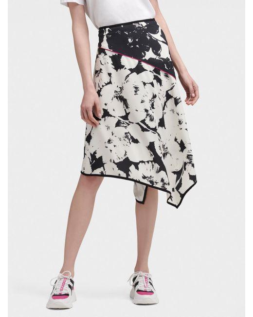 cfc9deb6a DKNY - Black Floral Print Asymmetrical Skirt - Lyst ...