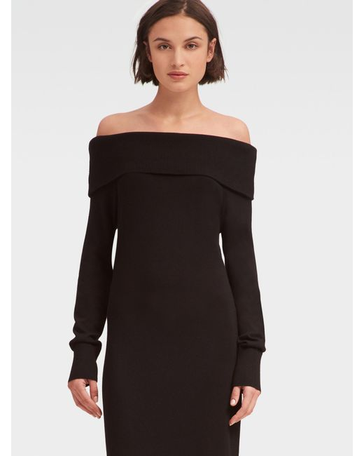 Lyst Dkny Off The Shoulder Sweater Dress In Black