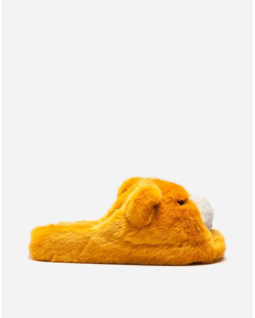 Dolce & Gabbana - Orange Faux Fur Sliders for Men - Lyst