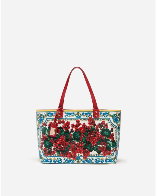d6a340582c38 Dolce   Gabbana - Red Beatrice Shopping Bag In Printed Calfskin - Lyst ...