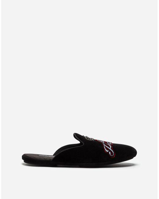 Dolce & Gabbana - Black Velvet Slippers With Embroidery - Lyst